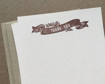 vintage inspired flat note cards and envelopes, thank you banner, stationery set, set of 10