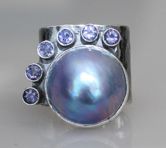 Pearl Tanzanite: Mabe Pearl Ring Tanzanite Ring Rustic Pearl Ring