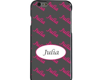 Hard Snap-On Case for Apple 5 5S SE 6 6S 7 Plus - CUSTOM Monogram - Any Colors - Black White Oval Name