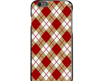 Hard Snap-On Case for Apple 5 5S SE 6 6S 7 Plus - CUSTOM Monogram - Any Colors - Boston College BC Eagles Colors - Argyle Pattern