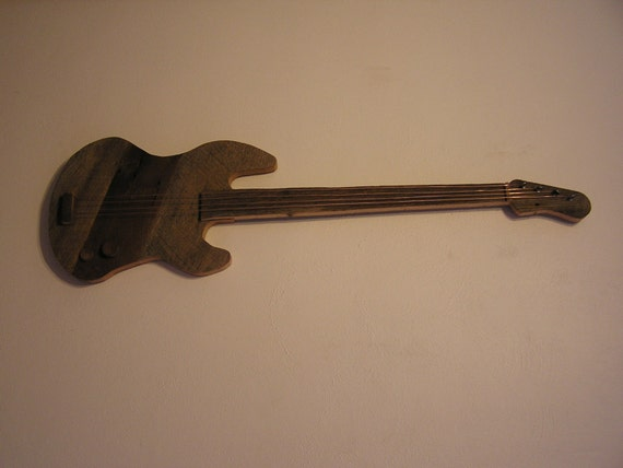 Wood Guitar Wall Decor : Barn wood bass guitar wall art by recycledartifactz on etsy