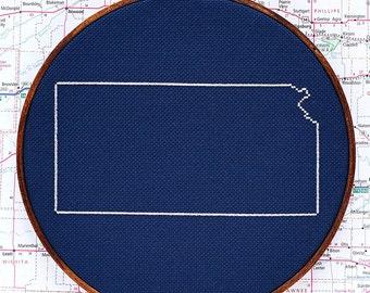 State of Kansas map, CROSS STITCH PATTERN