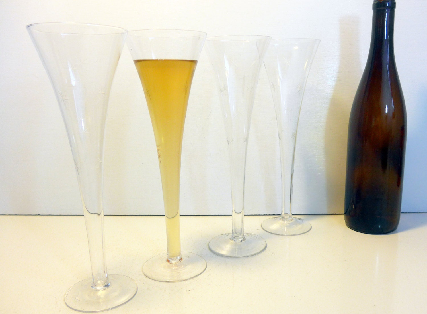 4 vintage very tall hollow stem etched champagne flutes - Hollow stem champagne glasses ...
