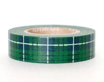 MT Japanese Washi Tape Green Tartan Plaid - 15mm x 15m - Scrapbook - Journal Tape - Masking Tape
