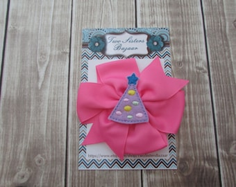 Birthday Hair Bow, Girls Hair Bow, Hair Bow, Hair Clip, Pink Bow, Party Bow