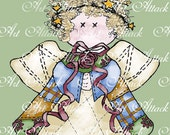 Quilted Cutie Angel Card Graphics -  Digital Stamps