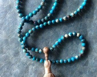 Blue Magnesite Mala with Tassel; Prayer Beads