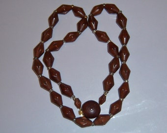Unique Necklace. Old Necklace. Faux Wood Bead Necklace. Unusual 40s Jewelry.