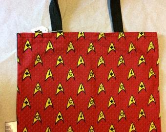 Star Trek Red Engineer Tote Bag, Trick or Treat Halloween Bag, Reusable Shopping Bag, Laptop Sleeve