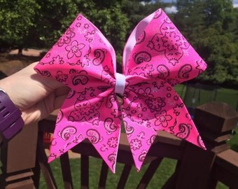 Pink Bandana Cheer Bow