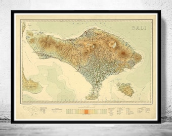 Old Map of Bali Indonesia 1935