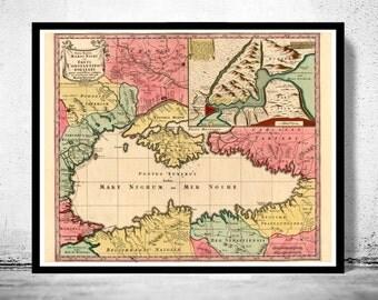 Old Map of Black Sea 1750 Crimea