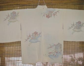 HAORI FINE Urushi Blush Pink Silk Vintage Japanese Haori,Elegant Sparkly Metallic Flower Cart Blush Pink Silk Japanese Haori Kimono Jacket
