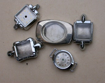 5 Pcs French vintage silver stainless steel twist watch frame pendant bracelet design charms bombe glass
