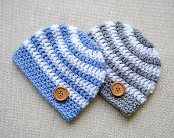 Twin baby boys hats set Newborn twin hats Newborn twin boys photo prop Newborn crochet hat Newborn beanie Twin boys Gift New born hat Outfit