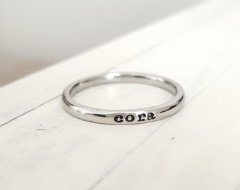 Stacking ring name ring Stacking ring Personalized custom name ring Tiny 2mm stacking ring Stainless Steel mothers ring hypoallergenic