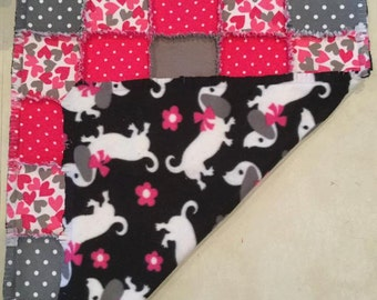 Fleece dachshund quilt, Flannel dog blanket, Flannel baby quilt, baby shower, pink polka dots, hearts, doxie blanket, ; 10% of PP to charity