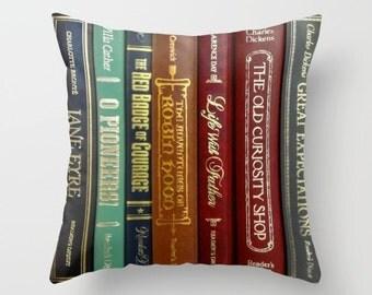 Literature Pillow, Books Throw Pillow, Books Pillow, Authors Pillow, Book Lovers Pillow, Library Pillow, Book Decor, Writer Gift, novels