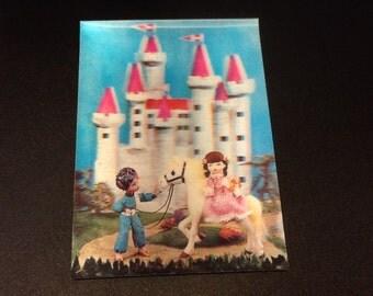 Lenticular castle and kids scene postcard 3d new old stock Japan