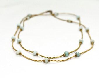 long layering bead necklace / spring minimalist jewelry / april birthday aqua amazonite brass / double strand single strand #1523