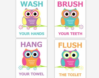 OWL Bathroom Wall Art Kids Bath Children Bathroom Prints Bath Rules Wash Brush Hang Flush Kids Bathroom Rules Wall Art Owl Bath Decor Baby