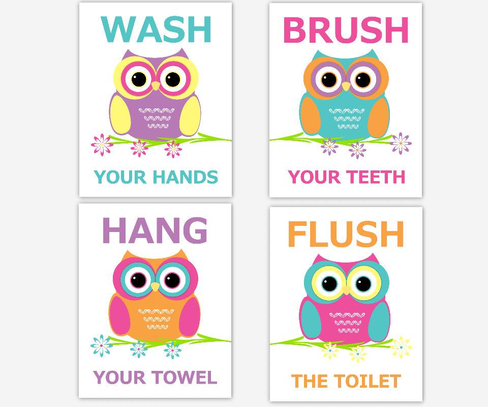 Owl Bathroom Wall Art Kids Bath Children Bathroom Prints Bath