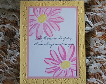 Handmade Greeting Card: yellow and pink,  friendship card, thank you, daisies