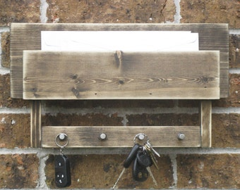Mail and Key Holder Rustic Brown and Distressed