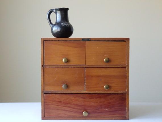 Vintage tool chest wood chest desk organizer chest drawers - Wood desk organizer with drawers ...