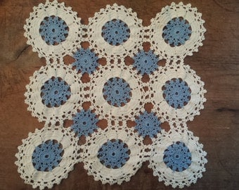 """Two Vintage Blue and White Doilies Circles One 9 1/2"""" and one 11"""""""