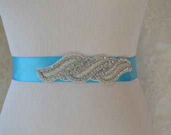 Turquoise  Satin Sash-Wedding Sash-Bridal Sash-Rhinestone  Bridal Sash,Beaded Sash