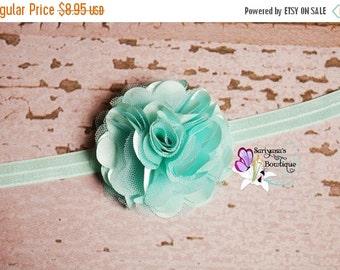 SALE CIJ Aqua Mint Green Satin Tulle Puff Flower Headband Clip, Flower Girl, Wedding, Baby Girl Toddler Woman - SB-014Aq