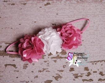 Dusty Rose Mauve White Mini Satin Tulle Flower Trio Skinny Headband, Flower Crown, Baby Girl Toddler Headband - SB-039