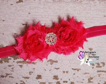 Hot Pink Double Shabby Flower Rhinestone Headband, Baby Toddler Girl Woman - SB-008F