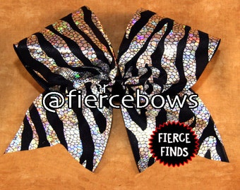 Black and Silver Holographic Zebra Cheer Bow