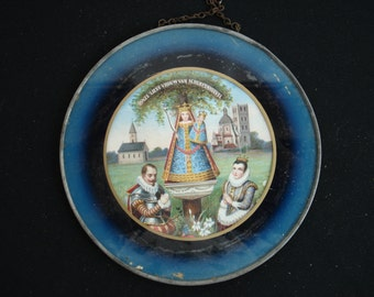 Religious antique catholic peinture of Holy Mary, Our Lady of Scherpenheuvel / Montaigu behind glass. ( 15 )