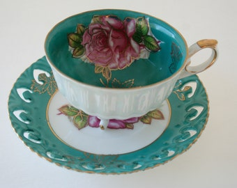 LM Royal Halsey Teal & Pink Rose Tea Cup and Saucer, 3 Footed Tea Cup Gold Gilt Pierced Saucer, Very Fine China