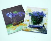 Dark Violets and Forget Me Nots Notecards, Set of 8 Cards with Envelopes