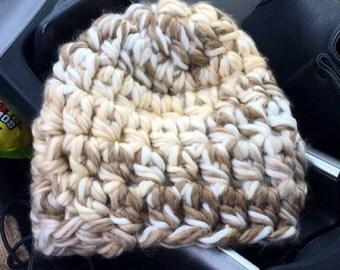 Mocha Latte Chunky Knit Beanie