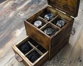 Watch box, watch chest , mens watch organizer, mens watch box, Storage Organization, wooden box for watches, watch organization