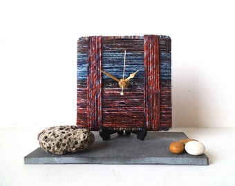 Red Blue Desk Clock - Stripy Wool Clock - Marbled Wool Yarn - Square Desk Clock Unique Clock