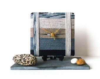 Wool Desk Clock - Small Wall Clock - Stripy Wool Yarn Clock - Beige Taupe Teal Blue Dark Blue Winter Colours Clock