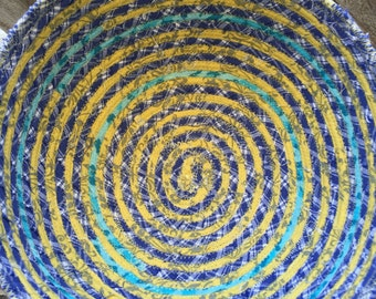 Spiral design blue and yellow fabric bowl