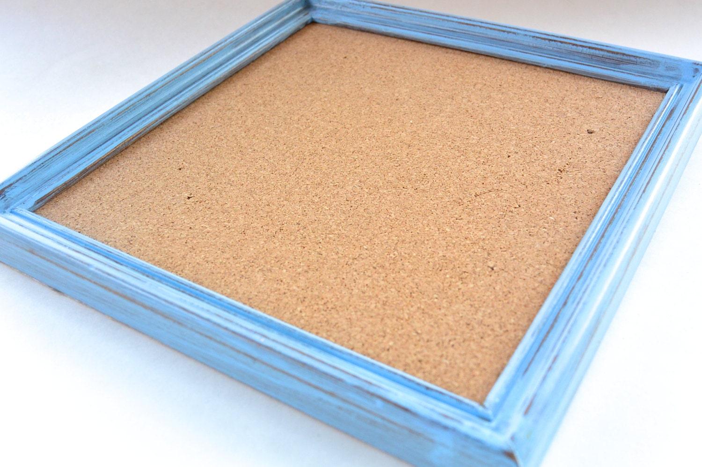 Light Blue Distressed Framed Cork Board Corkboard Hand