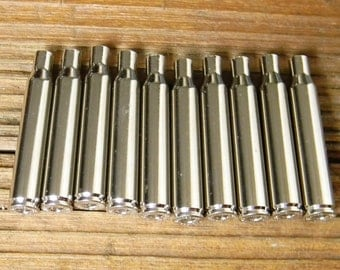 New 280 Caliber Nickel Shell Cases,(10) Nickel Shell Cases,.280 caliber,Silver Shell Cases,New Shell Cases,Bullet Jewelry Supplies,Reloading