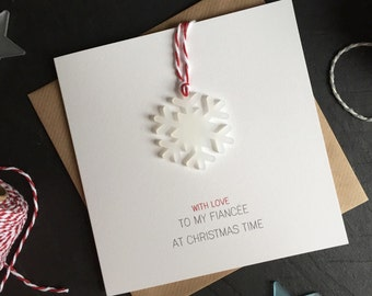 With Love to my Fiancee at Christmas Time // Christmas Card with Frosted Perspex Snowflake Tree Decoration