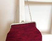 Handmade vintage silk kimono clasp bag