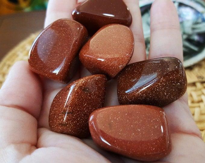 Goldstone ~ 1  medium/large Reiki infused tumbled stone