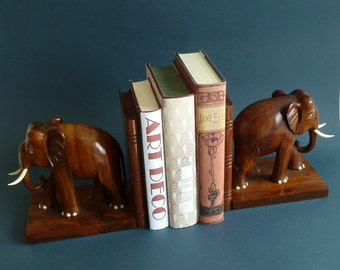 art deco  a pair of elephants rosewood bookends