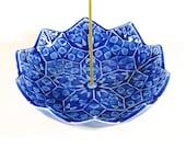 Lotus Blossom Incense Burner - Cobalt Blue Incense Holder - Third Eye Chakra Meditation Aid - Japanese Incense Holder -